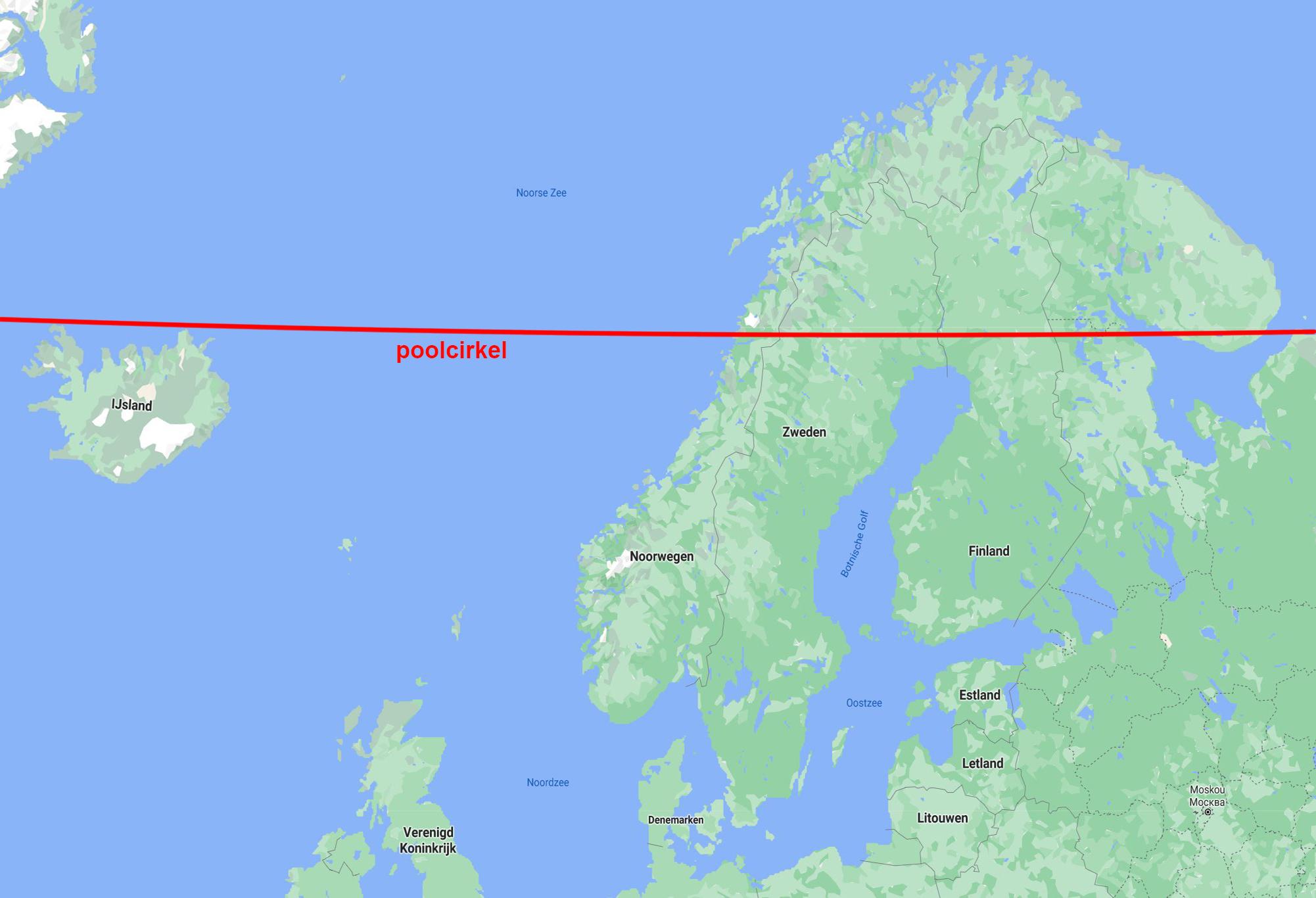 De poolcirkel loopt door Scandinavië