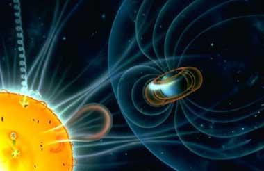 De interactie van de zonnewind en het aardmagnetisch veld. Foto:NASA