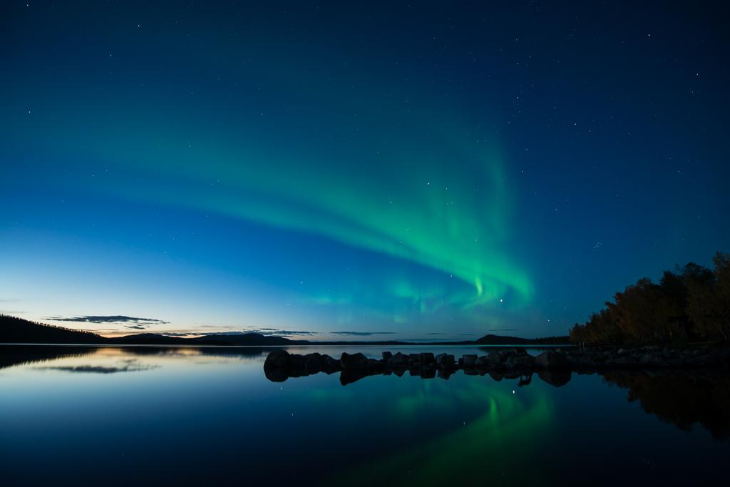 Groen noorderlicht boven Thingvellir, IJsland
