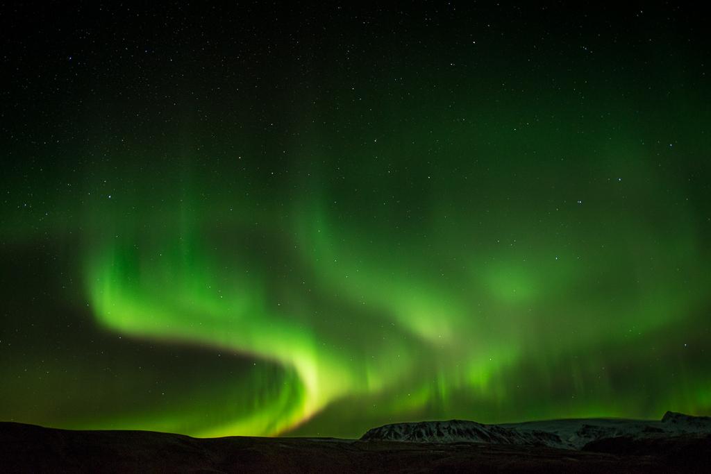 Noorderlicht tijdens een fotoreis naar IJsland